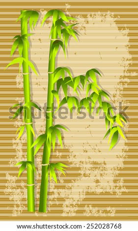 bamboo and bamboo frame on the mat background - stock vector