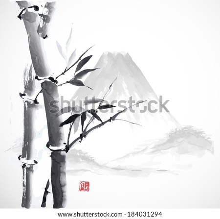 Bamboo and mountains, hand-drawn with ink in traditional Japanese style sumi-e. Vector illustration.  - stock vector