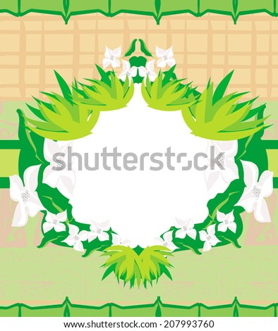 bamboo and plum blossom frame - stock vector