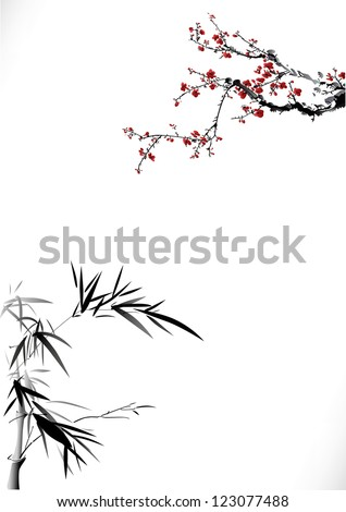 Bamboo and winter sweet - stock vector
