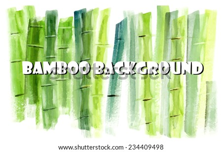 Bamboo background. SPA composition. Watercolor hand drawn. Vector illustration