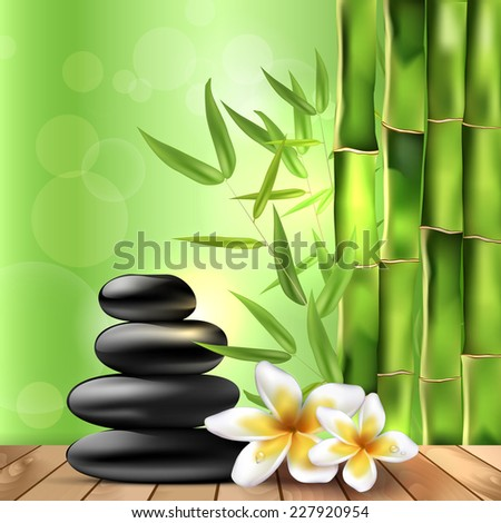 Bamboo, dewy frangipani flowers and stones on the wood - spa background. Vector illustration. - stock vector