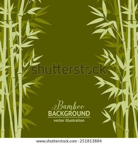Bamboo forest over green background, design card. Vector illustration. - stock vector