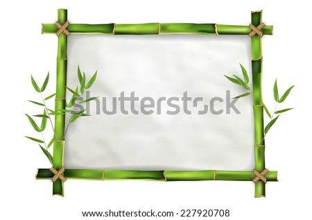 Bamboo frame with realistic paper background for your message. Isolated on white background - vector illustration. - stock vector