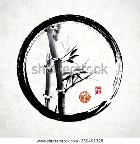 Bamboo in black enso circle hand-drawn with ink in traditional Japanese style sumi-e on vintage rice paper. Sealed with decorative stylized stamps. - stock vector