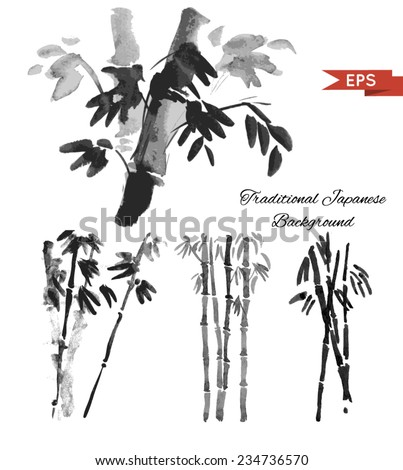 Bamboo ink background. Isolated illustration. Vector image. - stock vector
