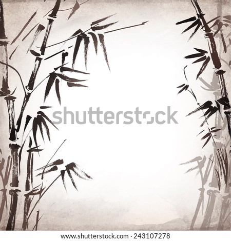 bamboo painted on textural grunge background. Vector illustration - stock vector