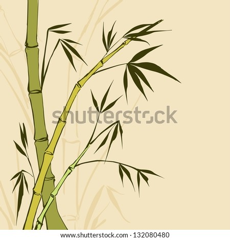 Bamboo Painting. Vector illustration, contains transparencies, gradients and effects.