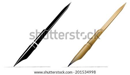 Bamboo Reed Pen - Illustration - stock vector