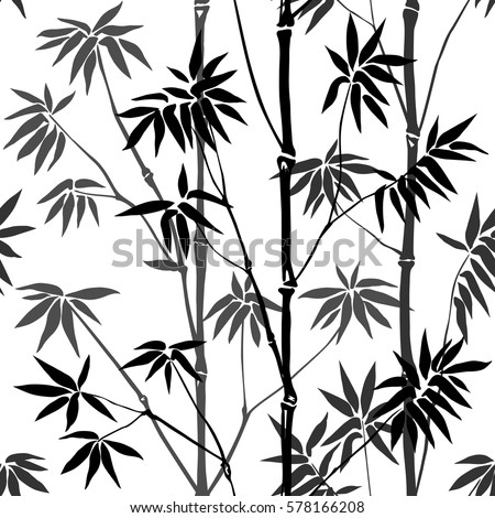 Bamboo Seamless Pattern on white background. Tropical wallpaper, nature textile print.