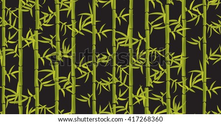 Bamboo seamless vertical pattern. Asian japan forest background on dark grey. Bamboo leaf dark background..