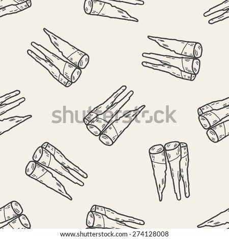 Bamboo shoot doodle seamless pattern background