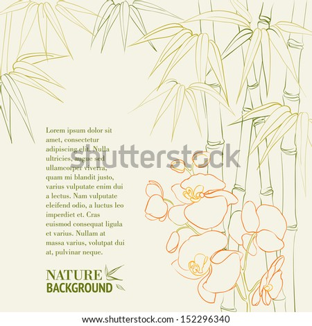 Bamboo stalks with orchid. Vector illustration. - stock vector