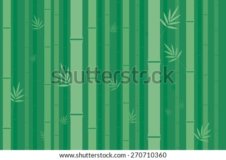 Bamboo stems with leaves in regular pattern on green background - stock vector