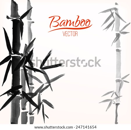 Bamboo sumi-e ink painted card design template white background - stock vector