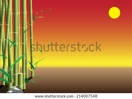 Bamboo sunset scene with soy background. vector illustration - stock vector