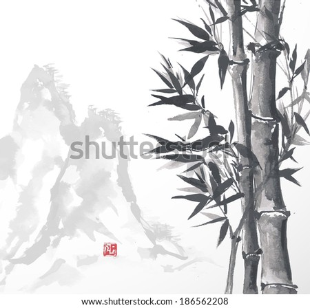 Bamboo trees and high mountains, hand-drawn with ink in traditional Japanese style sumi-e. Vector illustration.  - stock vector