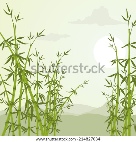Bamboo trees and mountains vector illustration - stock vector