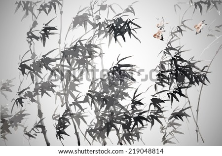 Bamboo . Vector illustration. Traditional chinese painting.  - stock vector
