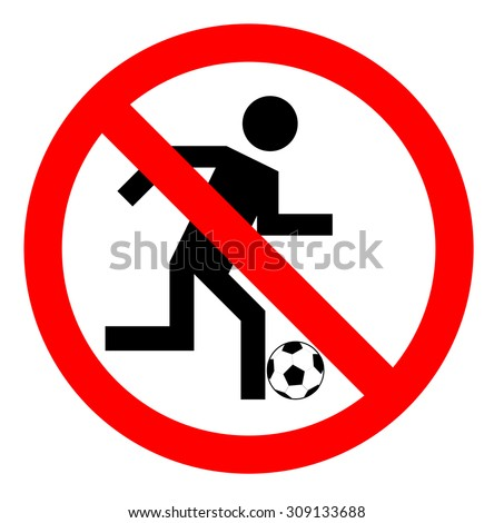ban on playing football , No play or football sign, vector illustration - stock vector