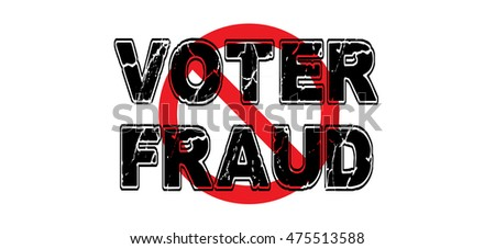 Ban voter fraud, the practice of manipulating the outcome of democratic elections.  Vector EPS-10 file, transparency used.