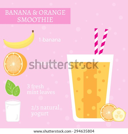 Banana and orange milkshake recipe. Menu element for cafe or restaurant with energetic fresh drink made in flat style. Fresh juice for healthy life. Organic raw shake. Vector illustration. - stock vector
