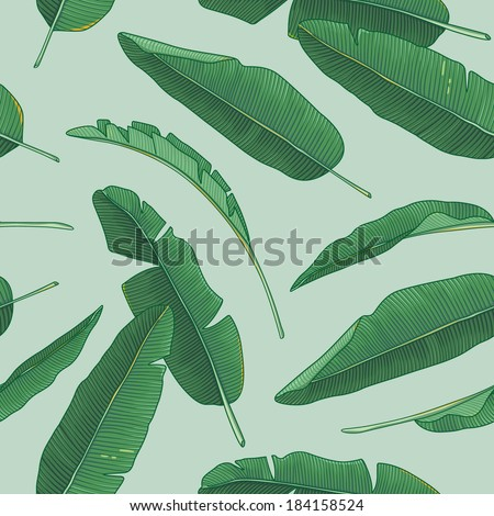 Banana leaves pattern - stock vector
