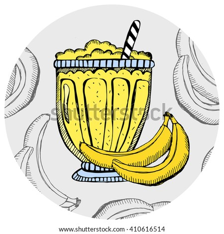 Banana milkshake, ice cream, cocktail in a glass with slices of fruit. Hand drawn banana smoothie on the white background. Vector illustration. - stock vector