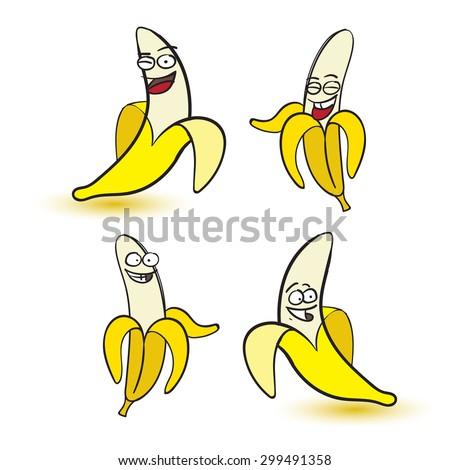 Banana or bananas cartoon collection in vector on white background - stock vector