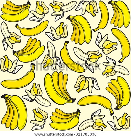 banana seamless pattern (background with bananas) - stock vector