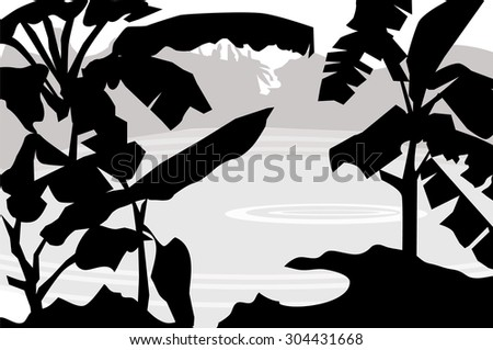 Banana Tree and Rural Pond