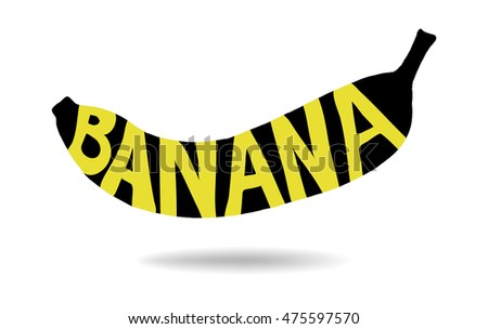 banana typography with yellow letters on black shape