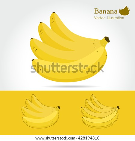 Banana vector icon cartoon style isolated on white background. Banana vector illustration. Banana isolated black and color icons vector silhouette. Banana, fruit, food, vector flat style - stock vector