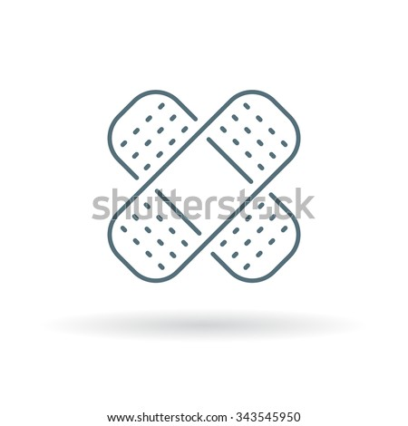 Band aid plaster icon. Band aid plaster sign. Band aid plaster symbol. Thin line icon on white background. Vector illustration. - stock vector
