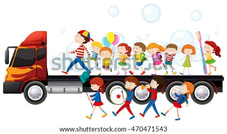 band children parade illustration stock vector 470471543 shutterstock rh shutterstock com parade clip art black and white costume parade clipart