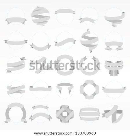 Band ribbon tape collection of fifteen design variations, eps10 vector copyspace element set - stock vector