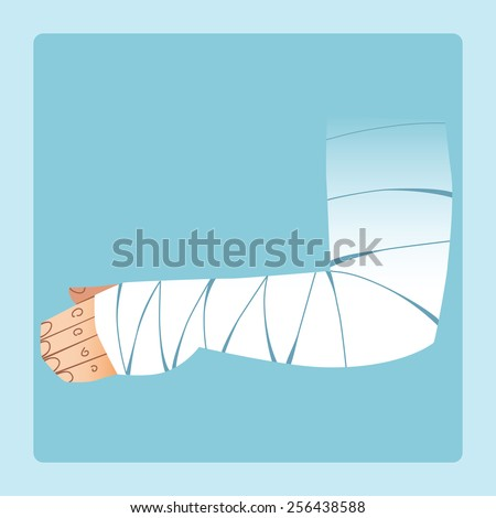 Bandaged hand after fracture or injury. Medicine and health - stock vector