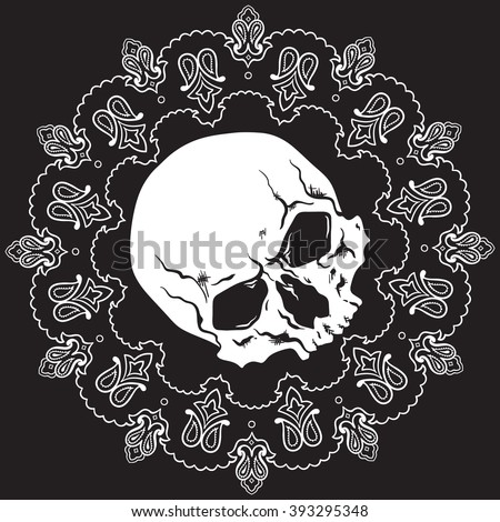 Bandana black and white design pattern with skull. Vector illustration - stock vector