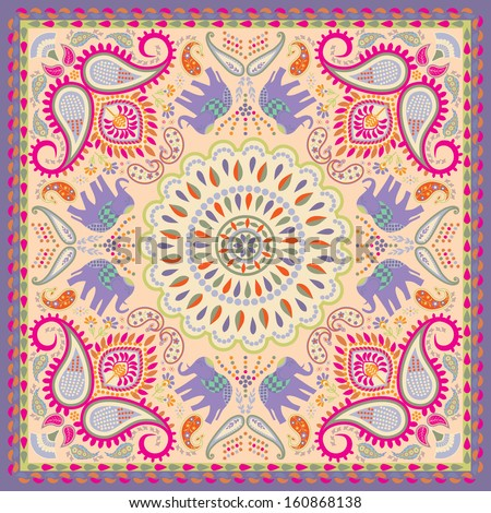 Bandana or Scarf with Elephant and Floral Motif - stock vector
