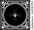 bandana pattern skull and spider - stock vector