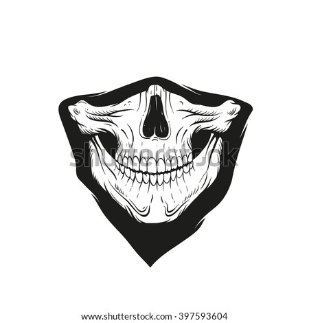 Bandana with a skull, hand drawn vector illustration