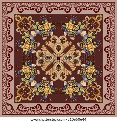 bandanna with a floral design in blue and yellow tones, decorated with paisley fawn and  border color burnt umber with openwork interlacing  on dark burgundy  background - stock vector