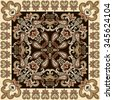 bandanna   with openwork paisley and decorative swirls on a dark brown background with beige border - stock vector