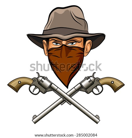 Bandit face in hat and bandanna and two big guns. Isolated on white background. No gradients. - stock vector
