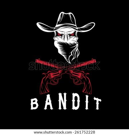 Bandit Skull With Revolvers - stock vector