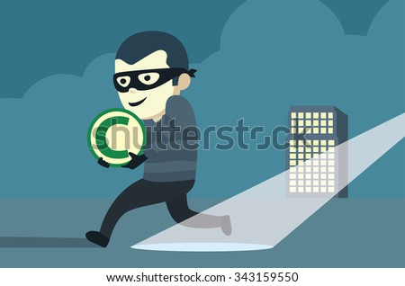 Bandit wearing mask robbery copyright of company then run away from arrest. - stock vector