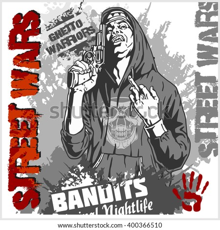 Gangster automatic weapon ghetto warriors vector stock vector bandit with gun man with revolver ghetto warriors vector illustration sciox Images