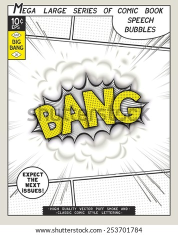 Bang. Explosion in comic style with lettering and realistic puffs smoke. 3D vector pop art speech bubble - stock vector