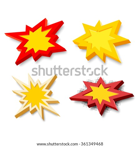 Bang explosion sign with 3D style and shadow - stock vector