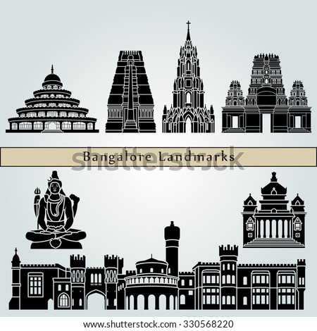 Bangalore landmarks and monuments isolated on blue background in editable vector file